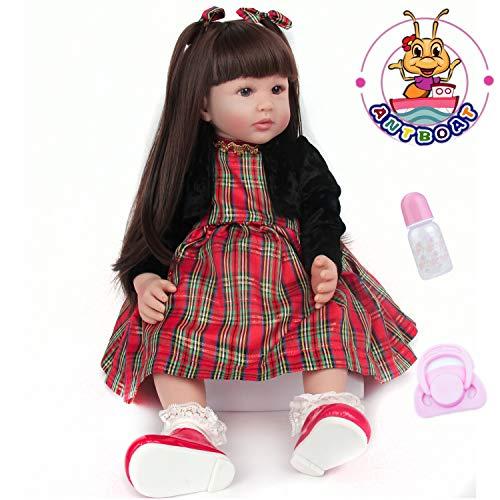 ANTBOAT Reborn Puppen Toddler 24 Zoll 60 cm Realistisch Weiches Vinyl Silikon Langes Haar Reborn Babys Puppen Mädchen Neugeborenen Puppen