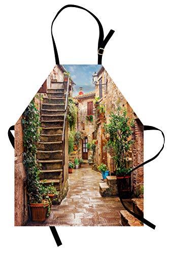 ABAKUHAUS Italia Delantal de Cocina, Casas Antiguas De La Calle De Piedra, Apto para Lavadora Colores No Destiñen Resistentes al Agua, Multicolor