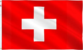 rhungift Switzerland Flag 3x5 Ft Outdoor Large, Moderate-Outdoor Both Sides Heavy Duty100D Polyester,Canvas Header and Double Stitched - Brass Grommets for Easy Display,Swiss Flags