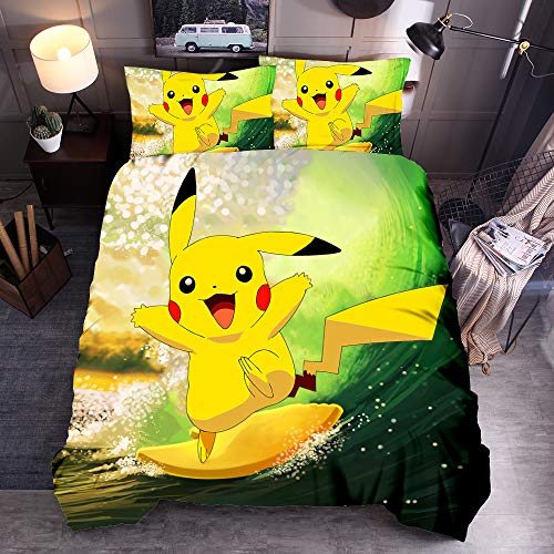 Neighbor Axin Pokemon Duvet Cover 3D Pikachu Anime Cartoon Children Bedding Set 3 Pcs, Ultra Soft Microfiber Kids Quilt Cover with 2 Pillowcase (01,Double 200x200cm)