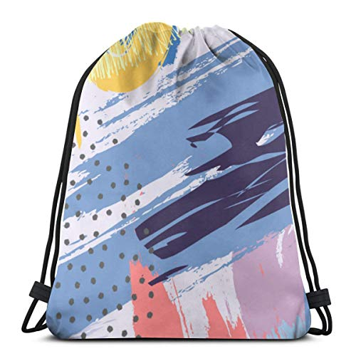 best pillow Abstract Background with Brush Strokes In MemphisVery Strong Premium Quality Drawstring Backpack Gym Bag for Adults & Children. Perfect for Sports, Beach Holidays, Swimming, Travel.