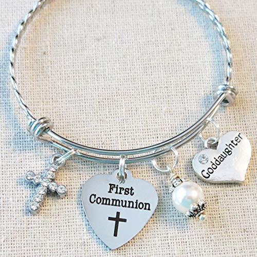 First Communion Bracelet, Communion Gift for Goddaughter, First Holy Communion Gift, Cross Jewelry, 1st Communion Charm Bracelet