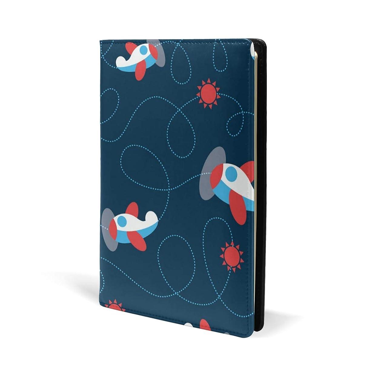 プランター切り下げ立派なブックカバー a5 飛行機 かわいい 太陽 文庫 PUレザー ファイル オフィス用品 読書 文庫判 資料 日記 収納入れ 高級感 耐久性 雑貨 プレゼント 機能性 耐久性 軽量