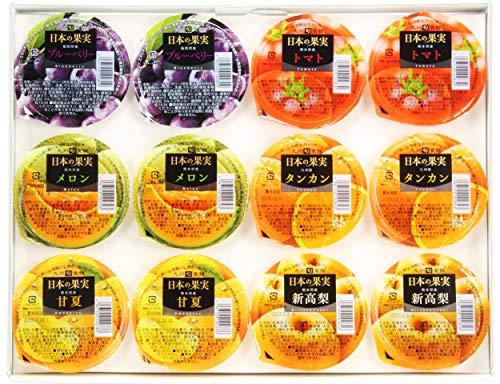 日本の果実 ゼリー6種(12個)ギフト×6セット マルミツサンヨー 甘夏 メロン ブルーベリー タンカン 新高梨 トマト お見舞いやお友達への手土産にちょうど良いフルーツゼリーの詰め合わせ