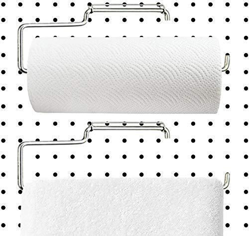 Menecor 2 Pack Stainless Steel Pegboard Paper Towel Holder   Pegboard Hooks   Pegboard Accessory for Tool Organization in Workshops,Garages,Kitchens,Laundry Room, Bathroom