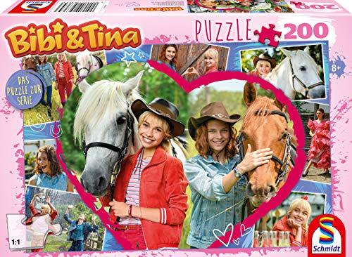Schmidt Spiele 56365 Bibi und Tina, Pferdefreundschaft, 200 Teile Kinderpuzzle zur TV Serie
