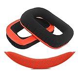 Geekria QuickFit Almohadillas de tela de malla para auriculares Logítech G430, G930, almohadilla para auriculares y diadema, cojín para la diadema, piezas de reparación (rojo-negro)