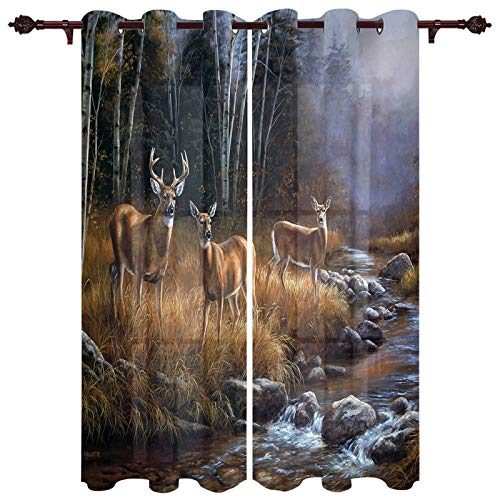 Curtains 2 Panel Set, Wildlife Deer Safair in Stream River at Forest in Autumn Kitchen Window Grommet Treatment Set for Living Room Bedroom,40 x 63 Inch