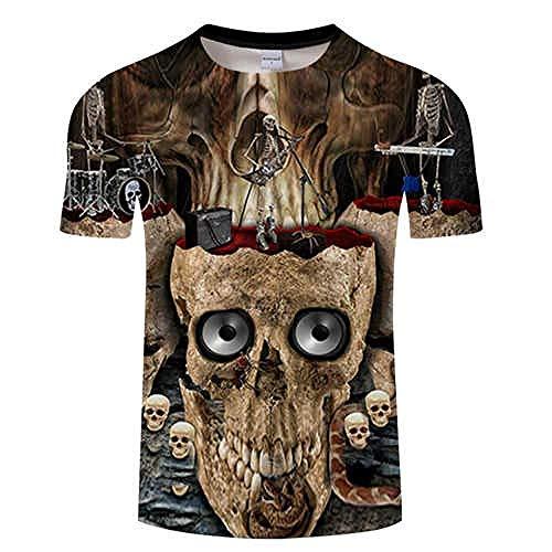 T Shirt Rock 3D T Shirt Hommes Crâne T-Shirt Streatwear Tshirt Tees Drôle Tops D'été À Manches Courtes Asiatiquel Tx549
