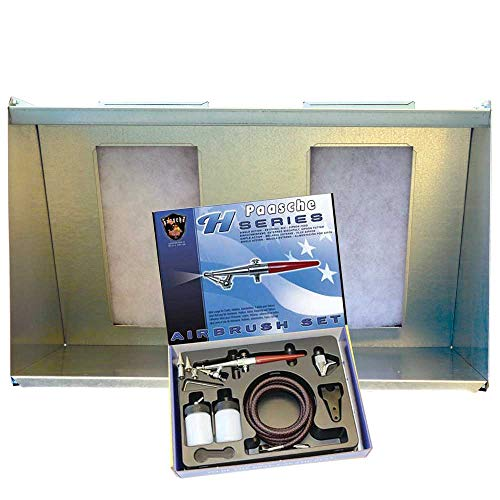 Paasche Airbrush (30' W x 16' H with H-Set Airbrush Spray Booth, Wide, Silver