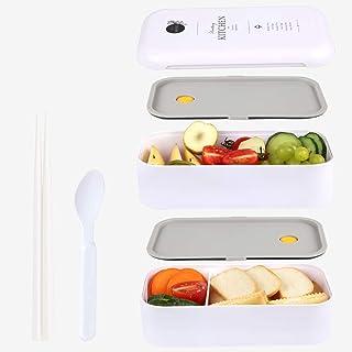 MEIXI Boîte Bento Enfant & Adulte  Bento Box Lunch Box   2 Couverts Solides   1100ml   Hermétique   Passe Au Micro-Ondes E...