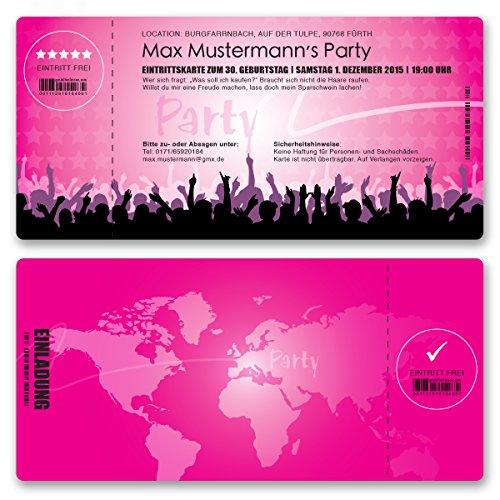 (10 x) Einladungskarten Geburtstag Eintrittskarte Party Ticket Einladungen Mädchen