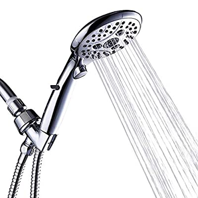 High Pressure Shower Head with Handheld Set, Switch 6 Spray Modes with One Click, ON/OFF Pause Switch Water Saving Shower Heads with 70.8 Inch Hose Bracket Teflon Tape Rubber Washers (Chrome)