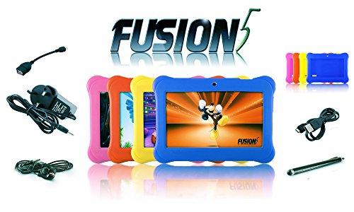 Fusion5 Kidlet - 7 'quad-core Tablet PC Kids - 4 colori di gel intercambiabile Covers - 8GB bagagli - Android Kitkat - Wifi, Bluetooth - Stylus Pen - Auricolari, penna stilo e molti altri - Un tablet PC progettato tenendo Kids in Mente !!