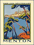 DHArt 1000 Piece Wood Jigsaw Puzzle Menton France Paris Lyon French Riviera Vintage Travel Advertisement Adult Children Kid Grownup Lovers Wooden Puzzles Gift Toy