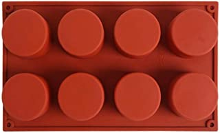 DingSheng 8 Cavity Round Silicone Mould for Soap, Brownie, Cheesecake and Cornbread Cupcake, Muffin, Cake, Bread, and More