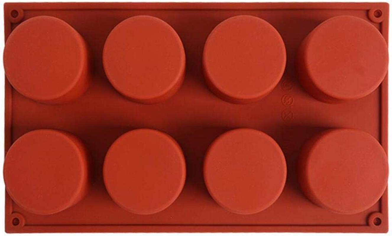 DingSheng 8 Cavity Round Silicone Mould For Soap Brownie Cheesecake And Cornbread Cupcake Muffin Cake Bread And More