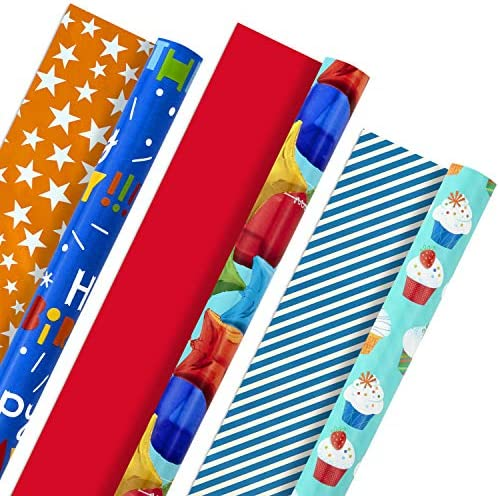 Hallmark All Occasion Reversible Wrapping Paper Bundle Kids Birthday 3 Rolls 75 sq ft ttl Balloons product image