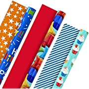 Hallmark All Occasion Reversible Wrapping Paper Bundle - Kids Birthday (3 Rolls - 75 sq. ft. ttl) Balloons, Stars, Cupcakes, Blue Stripes, Solid Red