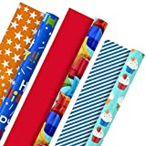 Hallmark All Occasion Reversible Wrapping Paper Bundle - Kids Birthday (3 Rolls - 75 sq. ft. ttl)...