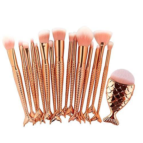 HZSLRL 16Pcs / Pack Pinceaux De Maquillage Mignon Ensemble Visage Yeux Lèvre Maquiagem Cosmétique Beauté Poudre Mélange Blanchiment Make Up Brush Tool Kit Rose Doré