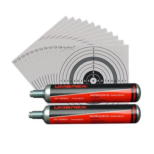 Unbekannt 2 Umarex Co2 Kapseln 88g für Gotcha/Softair/Paintball + 10 ShoXx.® Shoot-Club Zielscheiben 14x14 cm mit zusätzlichen grauen Ring und 250 g/m²