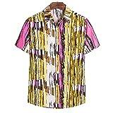Camisa Hombre Verano Chic Estampado/Cuadros Camisa Hombres Gran Tamaño Hawaii Playa De Arena Vacaciones Tops Hombres Moda Casual Clásico Botón Tapeta Manga Corta Shirt Hombres