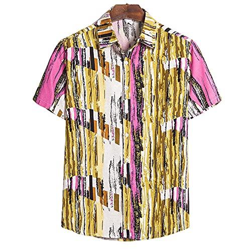 DaDuo Camicia Uomo Chic Stampa Maniche Corte Shirt Uomo Classica Abbottonatura Collare Kent Top Uomo Moderno Stile Urbano Hawaii Spiaggia Sabbiosa Vacanza Camicia Uomo