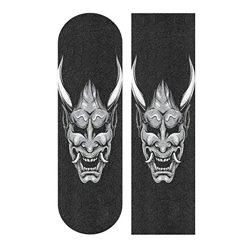 Skateboard Griptape Blatt 83 x 22,9 cm – Hannya Japanische Maske Sandpapier für Rollerboard Longboard Griptape blasenfreies Skateboard Tape
