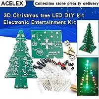 MYERZI 3次元3DクリスマスツリーLED DIYキット赤/緑/黄色のLEDフラッシュサーキットキット電子楽しいスイート