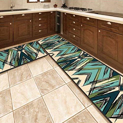 OPLJ Küchenmatte Anti-Rutsch-Türmatte Modernes Wohnzimmer Balkon Badezimmer Geometrisch bedruckter Teppich Waschbare Fußmatte A3 50x160cm