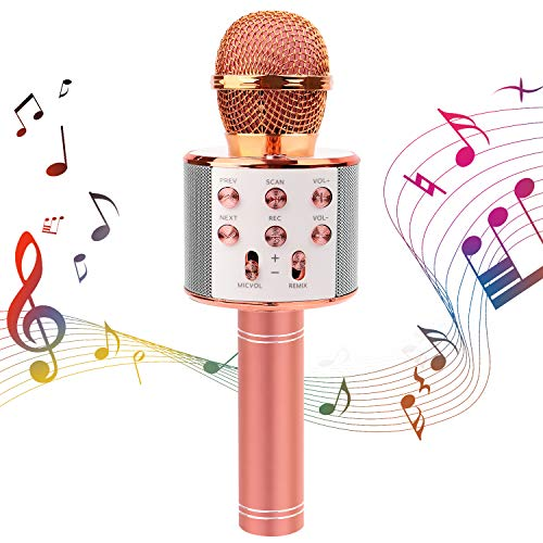 Wireless Bluetooth Mikrofon, Bluetooth Karaoke Microphone, Dynamisches Mikrofon mit Lautsprecher,Drahtlose Mikrofon Kinder mit Aufnahmefunktion, Tragbares Karaoke Mikrofon für Party, KTV, Geburtstag
