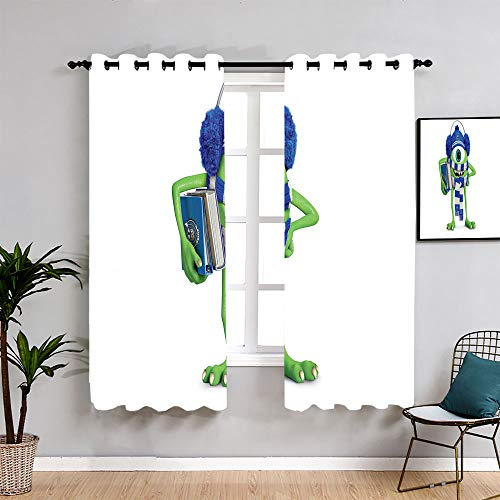 Monsters Inc Sully Cartoon Washable Curtains W63 x L63 Customized Chid Curtains Window Curtain Fabric for Boys Girls Room