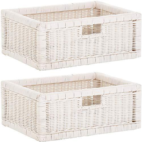 korb.outlet Stabiles Set / 2 Regalkorb mit Holzrahmen Schubfach aus echtem Rattan/Schübe Box zur Aufbewahrung Regalkorb Schrankkorb Griff (Weiss, Set 42x32x17)