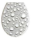 ADOB 59853, Asiento para inodoro de Duroplast con tapa de bajada automática, modelo Gota de Agua, removible para mejor limpieza