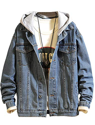 Lavnis Men's Denim Hoodie Jacket Casual Slim Fit Button Down Jeans Coat Style 2 Blue 2XL