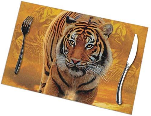 Rising Sun - Manteles Individuales con Estampado de Tigre, manteles Individuales para Mesa de Comedor, Juego de 4 Alfombrillas de Cocina fáciles de Limpiar, Resistentes al Calor (18 'x 12')
