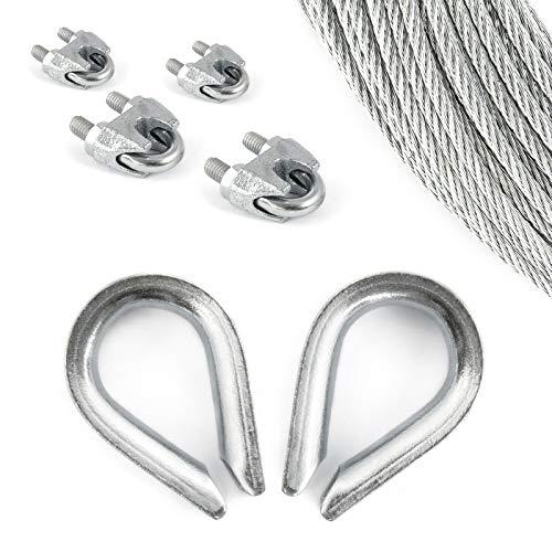 DQ-PP Stahlseil SET 3 | 3mm 6x7 mittelweich | 50 Meter | Stahl verzinkt | 2x Kauschen 3mm | 4x Seilklemmen Bügel 3mm | Drahtseil für Rankhilfe Seil Stahl Draht Forstseil Windenseil Spannseil