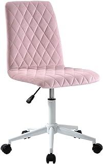 Huntgold2 Chaise de Bureau en Velours Tabouret de Bureau Pivotante Hauteur Réglable pour Maison Et Bureau Rose