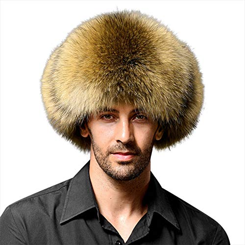LONTG Men Faux Fur Trapper Hat Winter Warm Ushanka Russian Trooper Hat Windproof Hunting Hat Cold Weather Earflap Cossack Pilot Aviator Cap