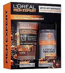 L'Oréal Men Expert Hydra Energy Geschenkset, für Männer 24H Feuchtigkeitspflege mit Guarana (50 ml) und Waschgel (100 ml) für die tägliche Gesichtspflege