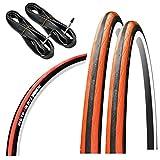 GORIX(ゴリックス) 自転車用タイヤ クロスバイク ロードバイク 他対応 [クリンチャー自転車タイヤ 2本 + チューブ 2個セット タイヤ交換] Gtoair (オレンジ, 23c)