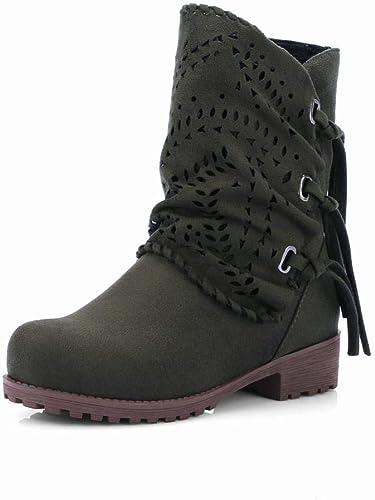 ZHRUI schuhe para damen - Stiefel de Cuero Mate Perforadas Stiefel cálidas para damen de otoño e Invierno schuhe de Gran tamaño para damen 35-43 (Farbe   Ejercito Grün, tamaño   37)