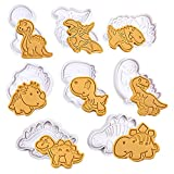 Moldes para galletas-8 piezas moldes para galletas en forma de dinosaurio molde para pasteles para galletas moldes en relieve de chocolate decoración de pasteles de plástico 3D