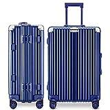 LNMLAN スーツケース アルミニウムマグネシウムフレーム 機内持ち込みスーツケース キャリーバッグ 静音キャスター 360°自由回転 旅行用4010 (ブルー, S)