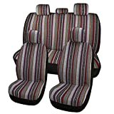 AUTOJING Full Set Bucket Seat Covers,Baja Blanket Cloth,Breathable,Sweat-Absorb,Universal Size,Multicolor (bohe01)