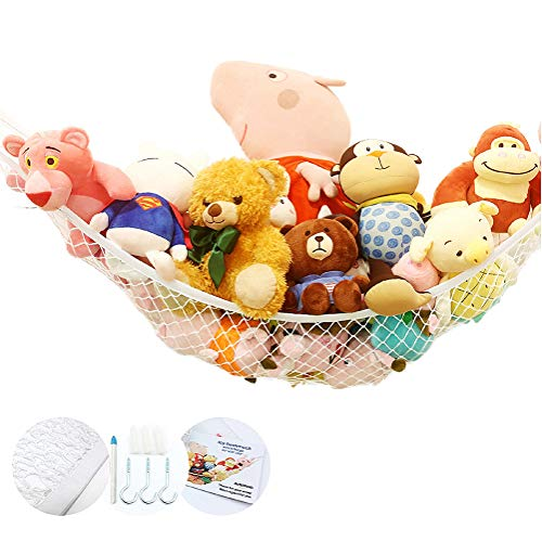 Stuffed Animal Toy Hammock Premium Plush Toy Hanging Organizer Jumbo Extra Large Storage Mesh Pet Net Organize Clutter in Kids Room Provide Installation Tools Expands to 65 Feet White