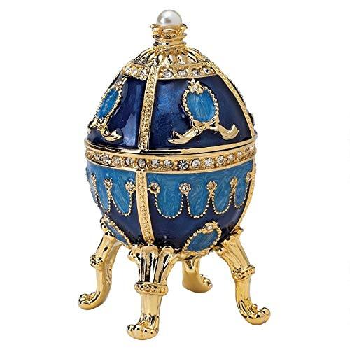 Design Toscano die Puschkin-Sammlung: Emailliertes Ei, blau, Maße: 5 x 5 x 9 cm