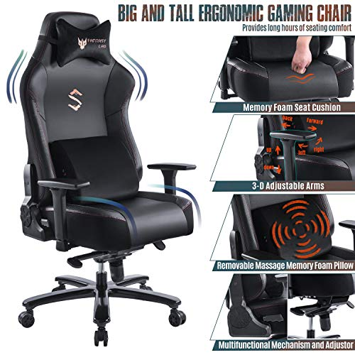 FANTASYLAB Big and Tall 400lb Massage Memory Foam Gaming Chair - Adjustable Tilt, Back Angle and 3D...