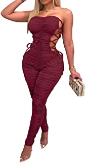 DressUWomen Fashion Curvy Sexy Drape Up Bandage Cut Pure Color Rompers and Jumpsuits